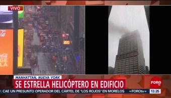 FOTO: Se estrella helicóptero en edificio de Manhattan, Nueva York