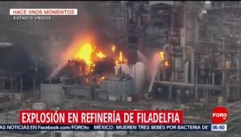 Se registra fuerte incendio en refinería de Filadelfia