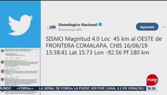 FOTO: Se registra sismo de magnitud 4.0 en Chiapas, 16 Junio 2019