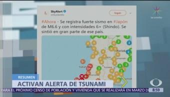Se registra sismo en Japón