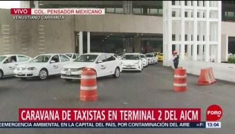 FOTO: Taxistas protestan en terminal 2 del AICM