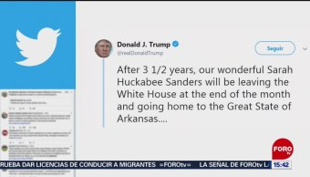 FOTO: Trump anuncia que su portavoz, Sarah Sanders, deja la Casa Blanca