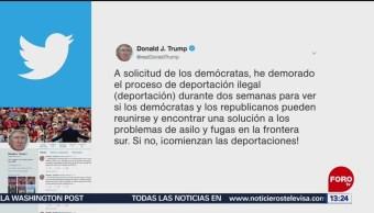 """FOTO: Trump reitera plazo de dos semanas para empezar """"la gran deportación"""", 23 Junio 2019"""