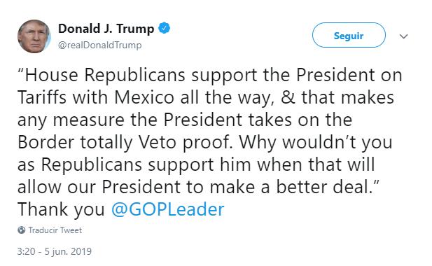 Foto: Tuit de Donald Trump sobre aranceles a México, 5 de junio de 2019, Reino Unido