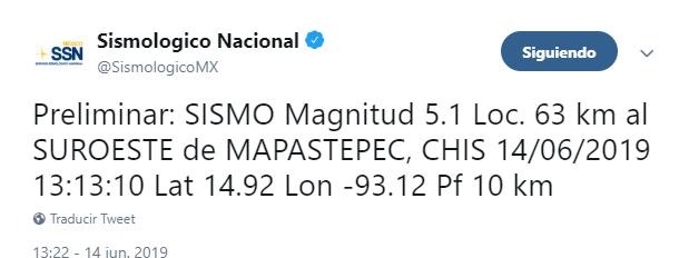 Foto: Tuit del SSN sobre sismo en Chiapas,14 de junio de 2019