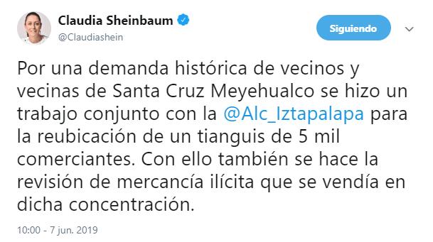 IMAGEN En Iztapalapa, impiden a comerciantes poner el tianguis de Santa Cruz Meyehualco (Twitter 7 junio 2019 cdmx)