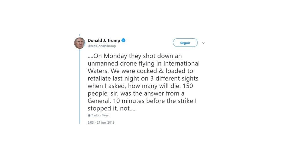Foto: Trump tuiteó sobre posible ataque a Irán, 21 de junio de 2019, Estados Unidos