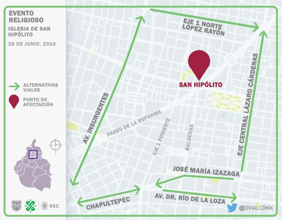 Foto Vialidades afectadas en Paseo de la Reforma 28 junio 2019