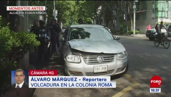 Vuelca vehículo en la colonia Roma Norte, CDMX