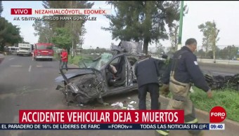 FOTO: Accidente vehicular deja tres muertos en Nezahualcóyotl, Edomex, 21 Julio 2019