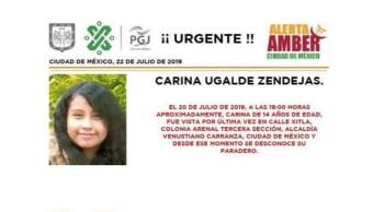 Foto Alerta Amber para localizar a Carina Ugalde Zendejas 22 julio 2019