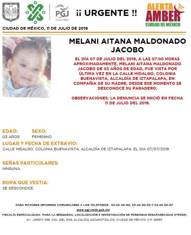 Foto Alerta Amber para localizar a Melani Aitana Maldonado Jacobo 11 julio 2019