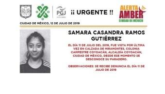 Foto Alerta Amber para localizar a Samara Casandra Ramos Gutiérrez 12 julio 2019