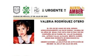 Foto Alerta Amber para localizar a Valeria Rodríguez Otero 29 julio 2019