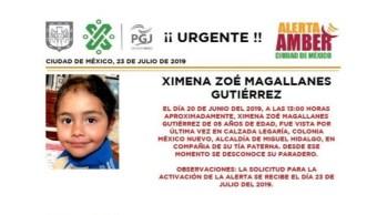 Foto Alerta Amber para localizar a Ximena Zoé Magallanes Gutiérrez 23 julio 2019