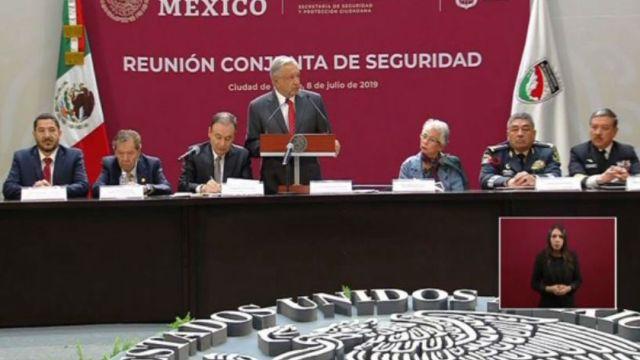 Foto: AMLO participa en reunión conjunta de seguridad, en Palacio Nacional, 8 de julio de 2019, Ciudad de México