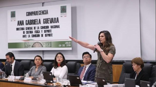 Foto: comparecencia de Ana Gabriela Guevara, 8 de julio 2019. Twitter @CanalCongreso
