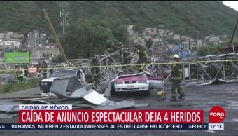 Caída de anuncio espectacular deja 4 heridos en CDMX