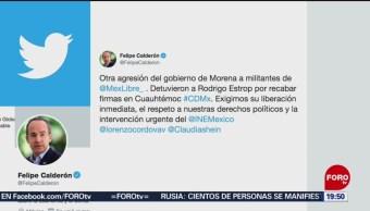 Foto: Calderón Denuncia Agresiones Militantes México Libre 15 Julio 2019
