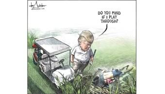 Foto: Caricatura de Michael de Adder sobre Trump y migrantes ahogados, 26 de junio de 2019, Canadá