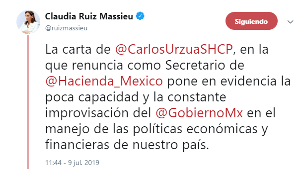 IMAGEN Renuncia Carlos Urzúa a la Secretaría de Hacienda y Crédito Público; Claudia Ruiz Massieu responde (Twitter 9 julio 2019 cdmx)