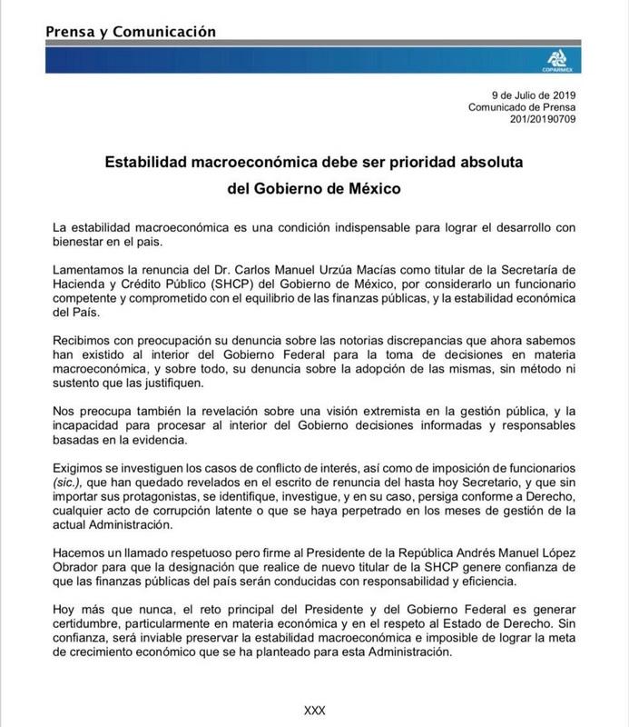 Foto: comunicado de la Coparmex, 9 de julio 2019. Twitter @Coparmex