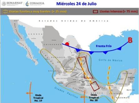 Foto: Rachas de viento superiores a 50 km/h se estiman en Baja California Sur, Chihuahua, Coahuila, Nuevo León, Tamaulipas, San Luis Potosí, Zacatecas, Durango y Guanajuato 22 de julio de 2019 (Twitter @conagua_clima)