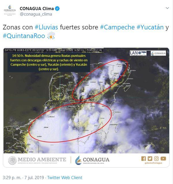 Foto: Pronostican lluvias fuertes, 7 de julio de 2019 (Twitter)