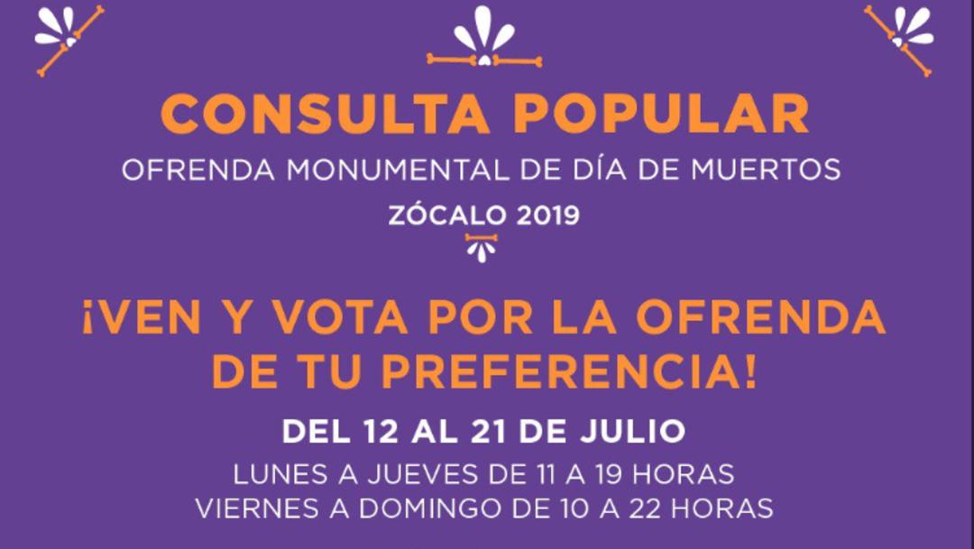Imagen: La consulta popular fue inaugurada por el secretario de Cultura, José Alfonso Suárez del Real, de la Ciudad de México, 13 de julio de 2019, (Twitter @CulturaCiudadMx)