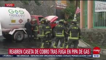 Foto: Controlan fuga de gas en pipa cerca de la caseta México-Cuernavaca