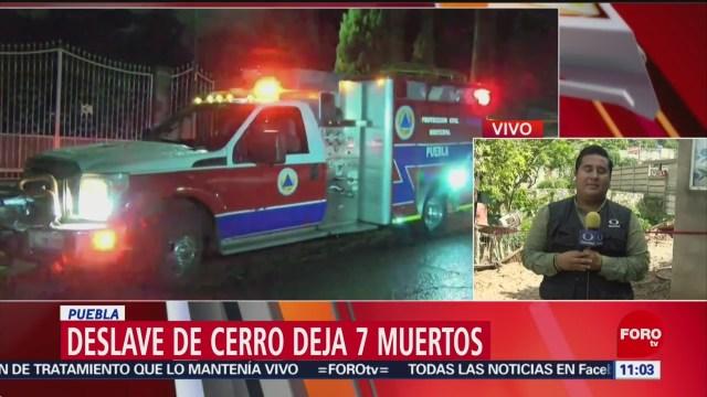 Deslave de cerro deja siete muertos en Puebla