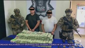 Detienen a dos hombres con más de 1 mdd en Tamaulipas
