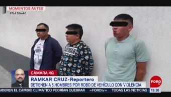 FOTO: Detienen tres sujetos por robo vehículo violencia CDMX,