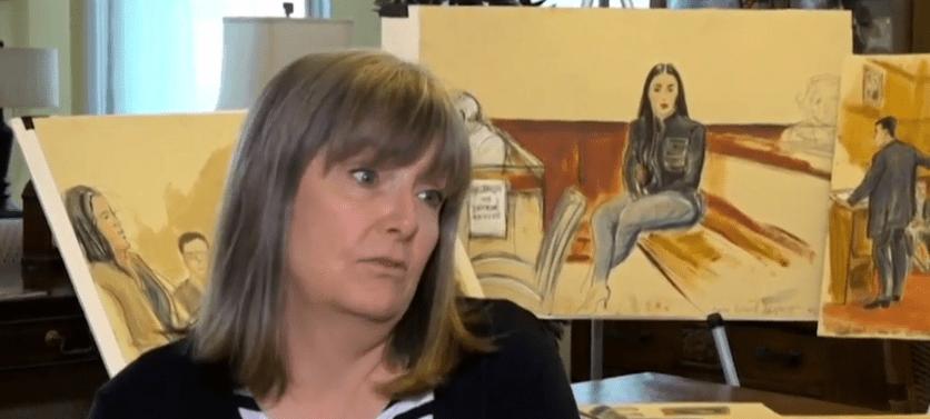 """FOTO Cómo fue dibujar a """"El Chapo"""" durante el juicio del siglo, Elizabeth Williams narra su experiencia a Noticieros Televisa"""