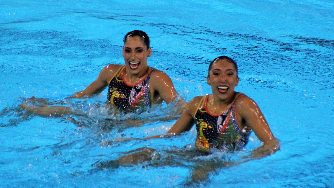 Foto: Las exponentes de nado sincronizado consiguieron el pase olímpico en Lima, 31 de julio de 2019, (Conade)