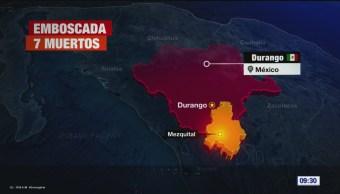 Emboscada en Durango deja 7 policías muertos