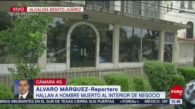 Encuentran cadáver de hombre en negocio de colonia Del Valle, CDMX