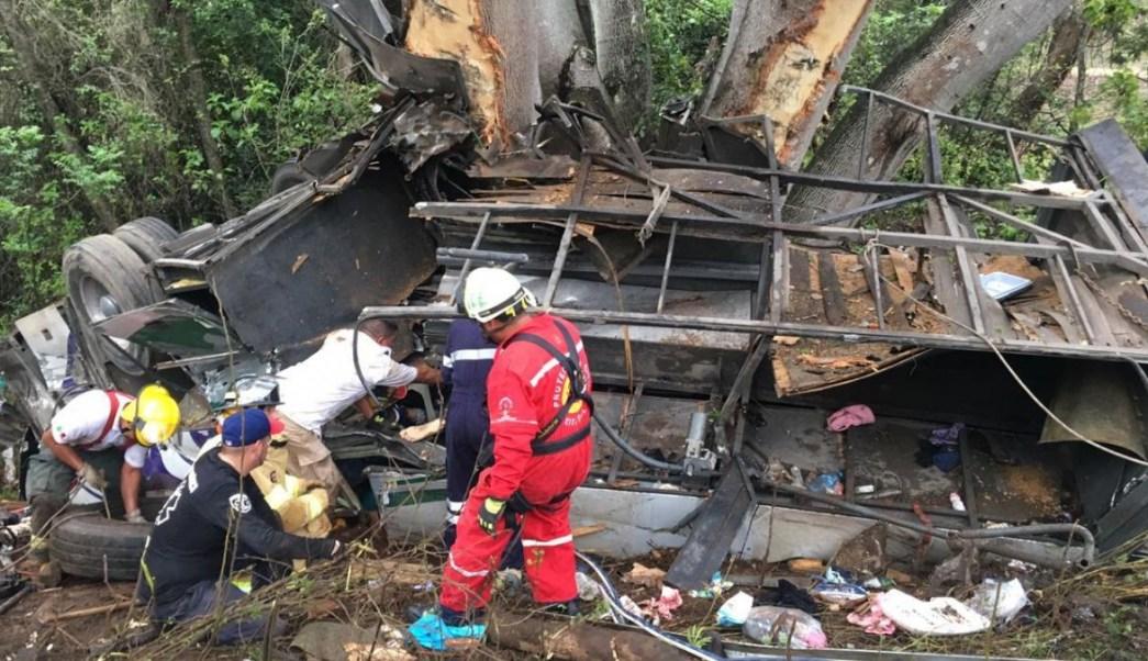 Foto: El chofer del autobús de pasajeros perdió el control y chocó contra un árbol. El 18 de julio de 2019
