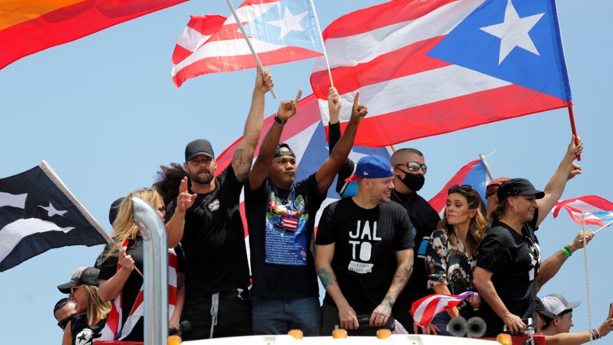 Foto: Bad Bunny, Residente y Ricky Martin protestan en calles de Puerto Rico. El 22 de julio de 2019