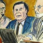 """Foto: Boceto del juicio de Joaquín """"Chapo Guzmán"""" en una corte de Nueva York, EEUU. El 7 de febrero de 2019"""