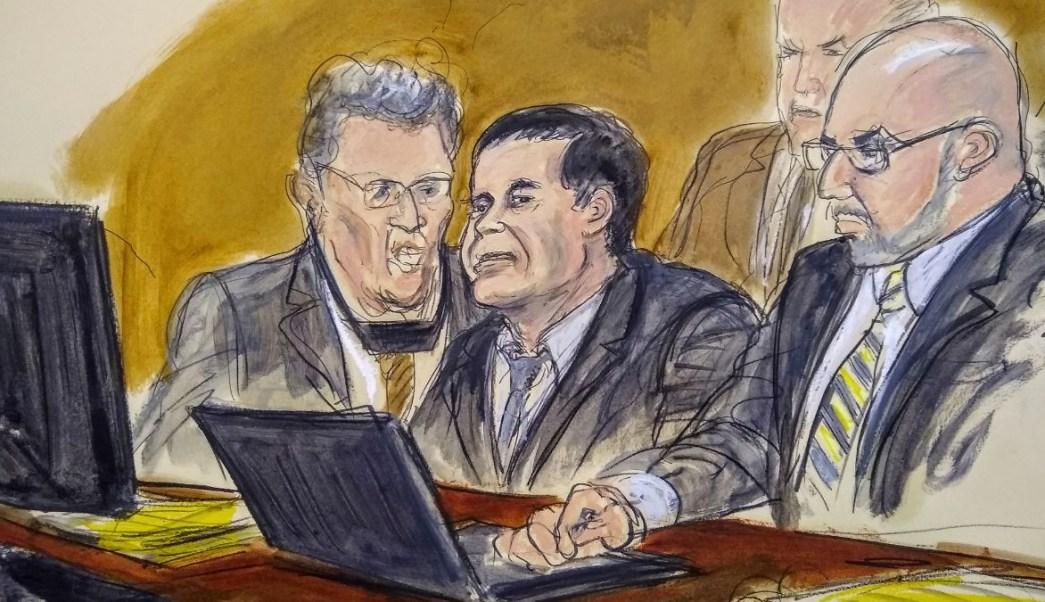 """Foto: Boceto del juicio de Joaquín """"Chapo"""" Guzmán en una corte de Nueva York. El 6 de febrero de 2019"""