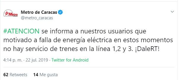 Captura de pantalla. Twitter/@metro_caracas