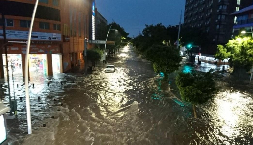 Foto: Las calles del centro de la ciudad de Guadalajara, Jalisco quedaron inundadas por las lluvias. El 8 de julio de 2019
