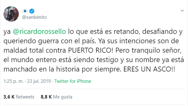 Captura de pantalla. Twitter/@sanbenito