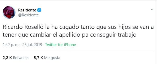Captura de pantalla. Twitter/@Residente