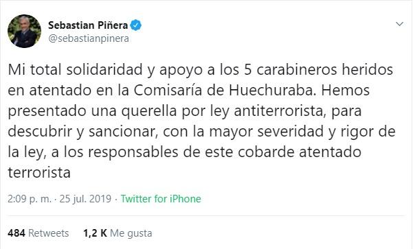 Captura de pantalla. Twitter/@sebastianpinera
