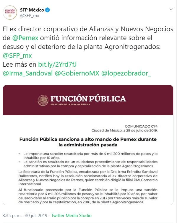 Captura de pantalla. Twitter/@SFP_mx