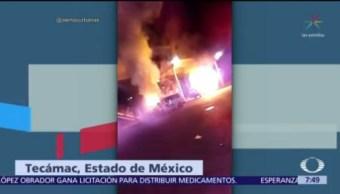 Hombres armados incendian transporte público en Tecámac, Edomex