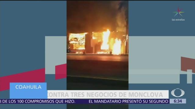 Incendian tres negocios en Monclova, Coahuila