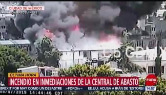 Foto: Incendio en inmediaciones de la Central de Abasto en Iztapalapa
